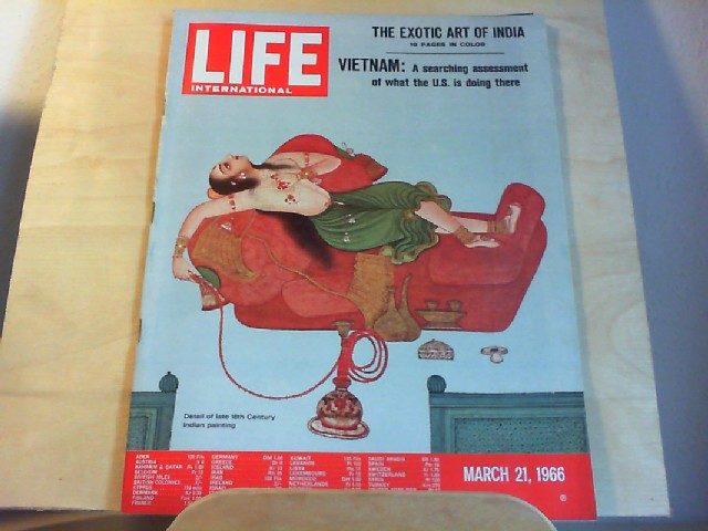 LIFE. International Edition. March 21, 1966, Vol.40, No.6. The exotic Art of India - 10 pages in color / Vietnam: A searching assessment of what the U.S. is doing there.