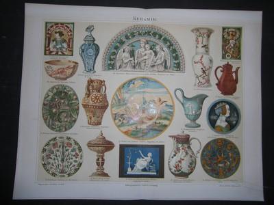 Keramik. Farbige Chromolithographie. Aus: Meyers Konversationslexikon 4.Aufl.