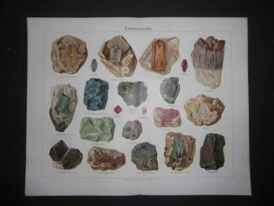 Edelsteine. Farbige Chromolithographie. Aus: Meyers Konversationslexikon 4.Aufl.