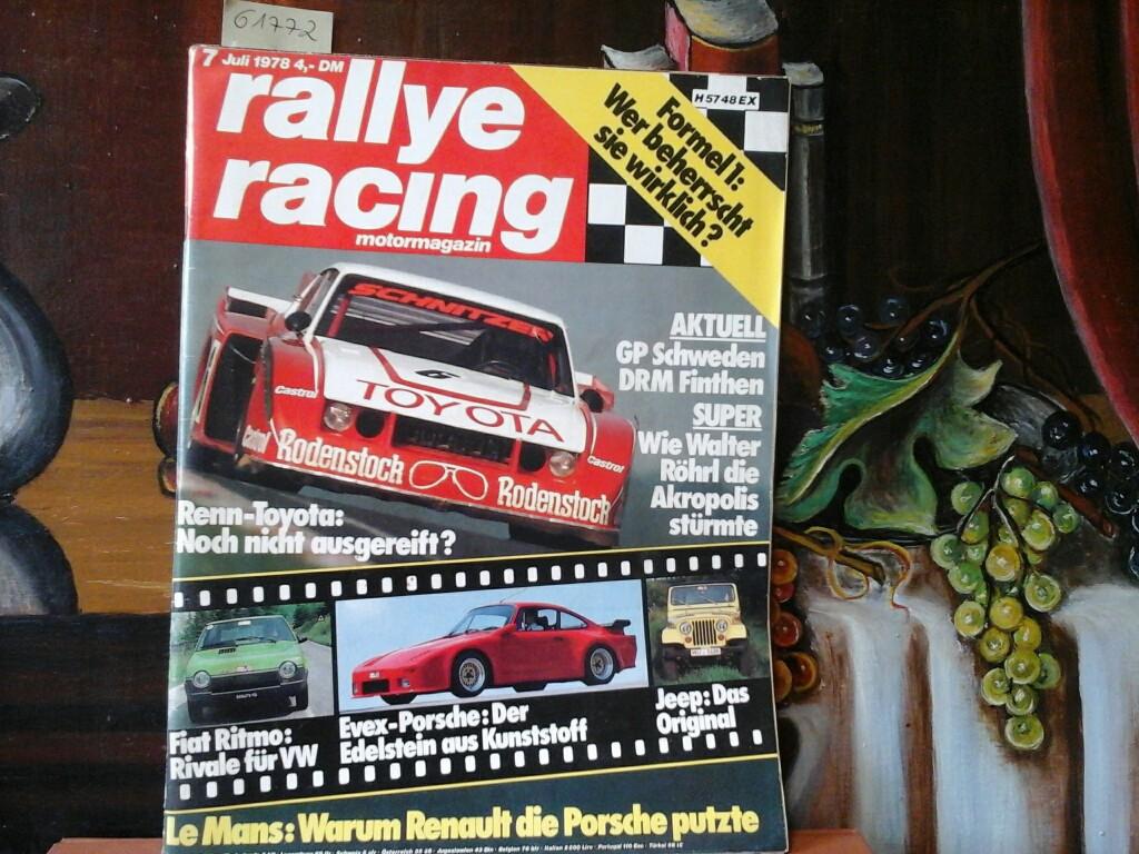 Rallye racing. Magazin für Auto+Sport. 7. Juli 1978. 12. Jahrgang. Erste /1./ Ausgabe.