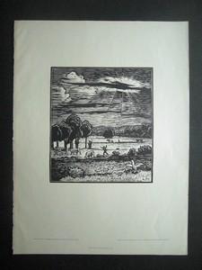 MAJER, ANTON: Sonnenuntergang. Original-Holzschnitt in Schwarz. Im Stock monogrammiert.