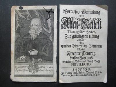 """Porträt. Kupferstich aus """"Fortgesetzte Sammlung von Alten und Neuen Theologischen Sachen""""."""