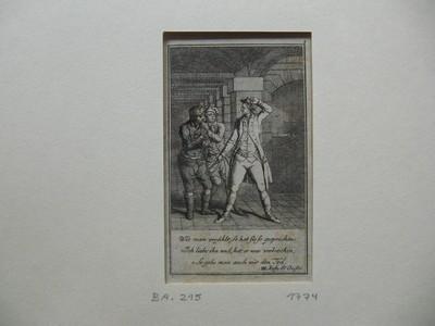 """Kupferstich aus  """"Der Deserteur"""" von Sedaine nach einer Handzeichnung von Daniel Chodowiecki. Eine Operette in drey Aufzügen aus dem Französischen. entnommen aus der Ausgabe Mannheim, Schwan, 1774. Abb. 8."""
