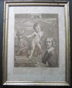 """""""Gio, Francesco, Barbieri. detto il Guercino da Cento."""" Radierung von Bartolozzi nach Barbieri."""