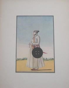 Porträt des Fürsten Nuwab Buddar udin Khan. Persisch-indische Miniaturmalerei um 1750. Farbiger Nachdruck.