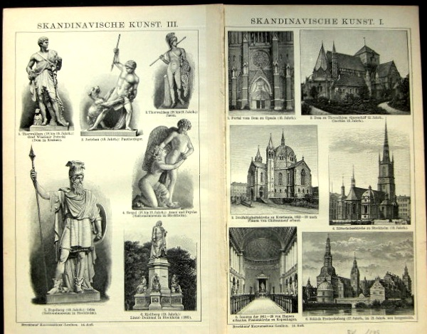 Skandinavische Kunst 1-3 Doppelblatt mit 3 Bildseiten aus, Brockhaus Konversationslexikon 14. Auflage