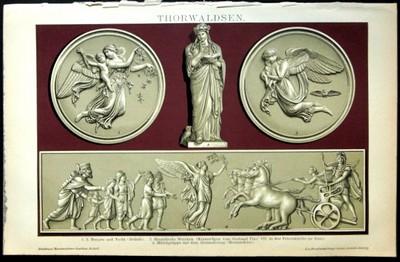 Thorwaldsen, verschiedene Reliefe, Einzelblatt aus Brockhaus Konversationslexikon 14. Auflage