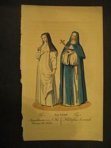 Nonnentracht. Fig.1: Augustinerin von S.Katharina der Seiler; Fig.2: Kosterfrau Anonciade.
