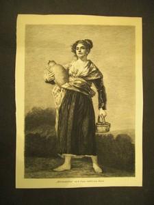 """""""Milchmädchen"""" nach Goya, radirt von Rajon. Radierung."""