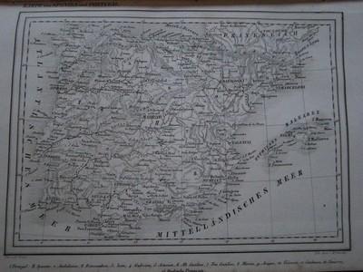 Karte von Spanien und Portugal. Aus: Erläuternder Kupfer-Atlas zu allen Conversations-Lexica. In siebzig Blättern. Stuttgart, Rieger, 1861.