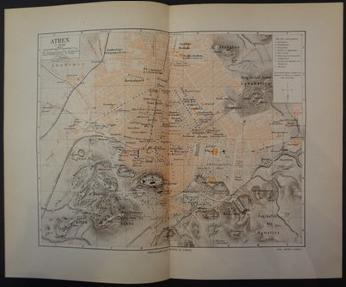 Athen. 1890. Farbkolorierte Karte (Maßstab 1: 16 500), Doppelblatt, mittig gefaltet, aus Meyers Conversations Lexikon.