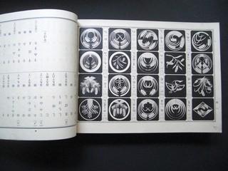 Musterbuch Japan. 20.Jahrhundert. [Nachschlagewerk nach dem Hiroha-Alphabet geordnet, mit japanischen Familienwappen und Mustern.]