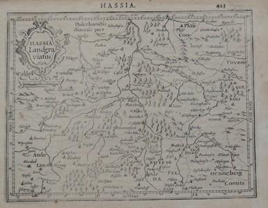 Hassia Landgraviatus. Kupferkarte 1607. Lateinischer Text verso. Blattgröße 17x22cm.