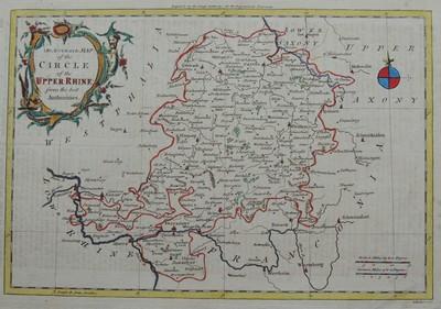 An Accurate Map of the Circle of the Upper Rhine from0 the best Authorities. Grenzkolorierte Kupferstichlandkarte mit farbkollorierter Kartusche oben links. Mitte links (auf dem 50 Längengrad) mit Coblenz / Engers, Mentz (Mainz), Frankfurt am Main, Lohr, bis Schweinfurt. Im Norden von Corbach über Cassel bis Mulhausen und im Osten von Mulhausen über Schmalkaden bis Schweinfurt.