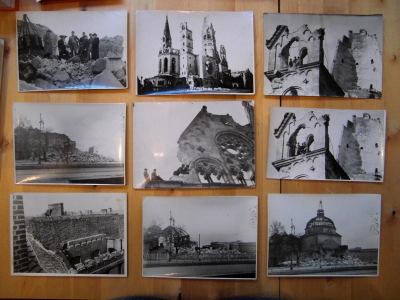 9 Original-Fotos die den Abriß der Gedächtniskirche dokumentieren. Aus dem Jahre 1945/46.