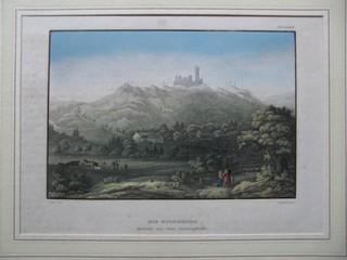 Die Boyneburg, Ansicht von der Datterpfeife. Stahlstich, kolloriert. C. Reiss del. B. Metzeroth sc.