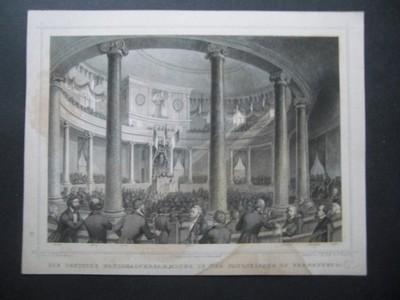 Die Deutsche Nationalversammlung in der Paulskirche in Frankfurt. Or.-Stahlstich von Kolb und Girsch.