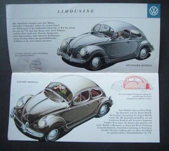 Volkswagen. Farbiger Prospekt mit unterschiedlichen Käfermodellen. Abgebildet ist das Standard-Modell, das Export-Modell, das Cabriolet, das Sonnendach-Modell.