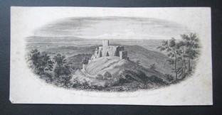 """""""Burg Frankenstein mit der Aussicht nach Darmstadt."""" (Hessen - Darmstadt). Stahlsansicht der Ruine von Süden mit Darmstadt im Hintergrund. Stahlstich von Johann Poppel nach Johann Friedrich Lange."""