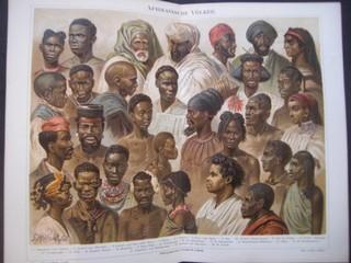Afrikanische Völker. Chromolitographie, ca. 1890. Doppelblatt, gefaltet - 30 x 24 cm; Bildgrösse 26,5 x 21 cm.