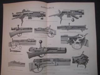 Handfeuerwaffen II. Holzschnitt, ca. 1890. Doppelblatt, gefaltet - 30 x 24 cm; Bildgrösse 26 x 19,5 cm.