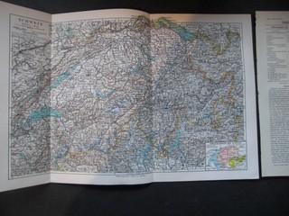Sprachgebiete der Schweiz. Maßstab 1:1100000. Aus Meyers Konversationslexikon.