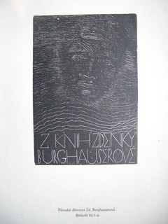 BURGHAUSEROVÁ, ZEDENKA: Ex-Libris Schildchen für Z. Knihzdenky. Gezeichnet von Z.Burghauserové.