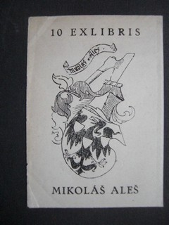 EX LIBRIS. - ALES, MIKOLÁS: Ex-Libris Schildchen für Mikolas Ales, gezeichnet von M.Ales. 10 Exlibris.