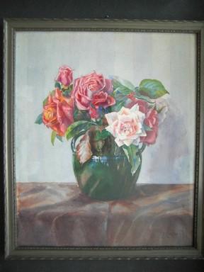 Rosen in Vase. Farbiges Or.-Aquarell.