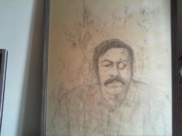 Selbstporträt. Lithographie, signiert. Eingerahmt, 105 x 70 cm.