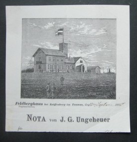 Feldberghaus bei Reiffenberg im Taunus, 13.9.1885. Nota von J.G.Ungeheuer. Or.-Holzstich.
