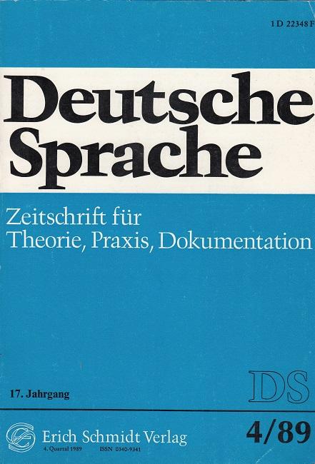 Berens, Franz-Josef (Hrsg.): DEUTSCHE SPRACHE 4 / 1989 - u.a. Michel Giesecke, Natürliche und künstliche Sprache