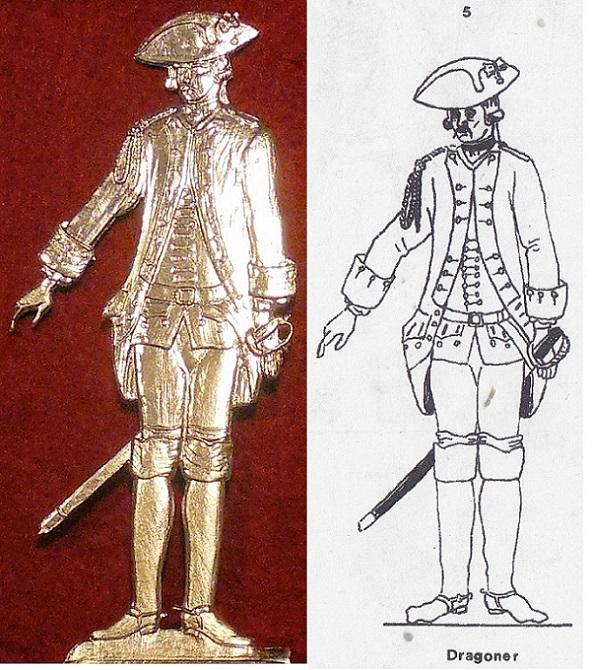 Dragoner 1762 - Vorlage Albertina Handschrift (Type 5) - Zinnfigur 90mm - blank