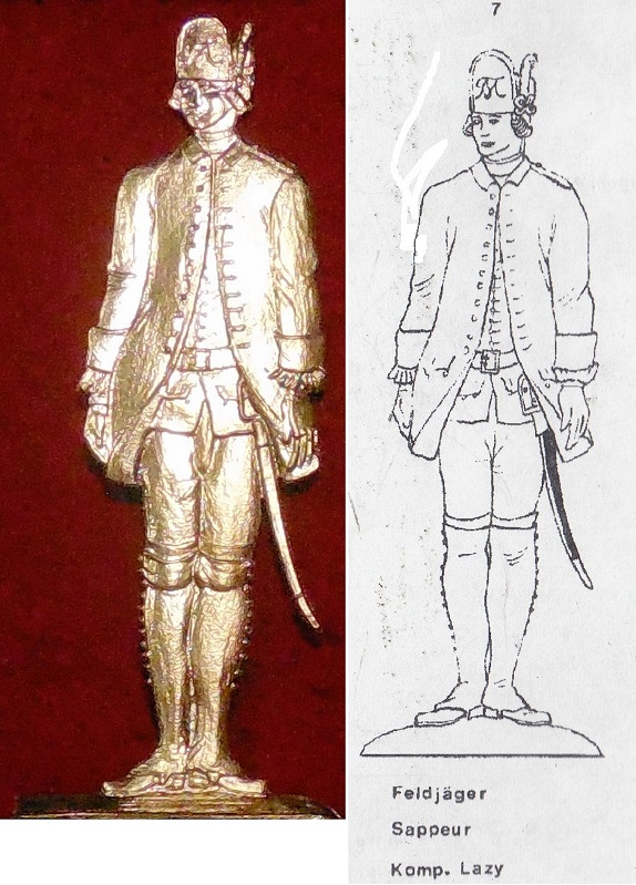 Feldjäger Sappeur 1762 - Vorlage Albertina Handschrift (Type 7) - Zinnfigur 90mm - blank