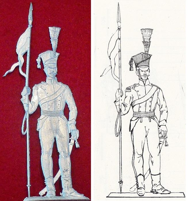 Ulan mit Lanze um 1809 - Österreichische Kavallerie - Zinnfigur 90mm - blank