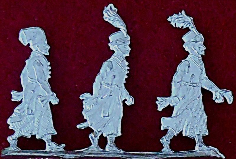 Osmanischer Hof - Läufer und Trabanten für Aufzüge der Paschas und Wesire - 3 Oldhafer Zinnfiguren 30mm - blank