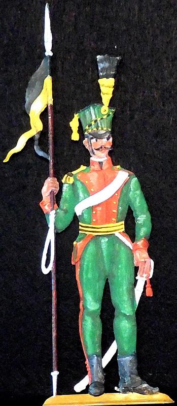 Ulan mit Lanze um 1809 - Österreichische Kavallerie - Zinnfigur 90mm - handbemalt