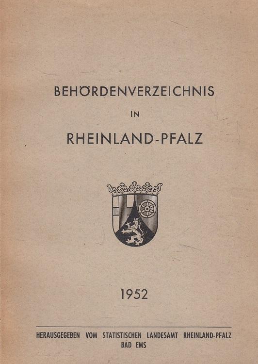 Behördenverzeichnis Rheinland-Pfalz 1952