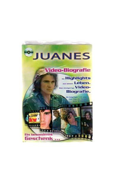 """Juanes - Geschenkkarte mit Video-Biografie. Die beigefügte VCD zeigt eine Folge der Fernsehserie """"Starstruck"""""""