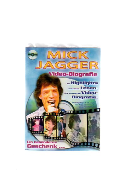 """Mick Jagger - Geschenkkarte mit Video-Biografie. Die beigefügte VCD zeigt eine Folge der Fernsehserie """"Starstruck"""""""