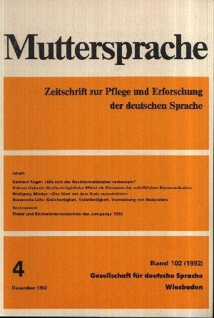 Muttersprache Band 102 Zeitschrift zur Pflege und Erforschung der deutschen Sprache Dezember