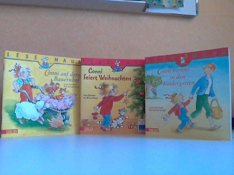 Conni auf dem Bauernhof + Conni feiert Weihnachten + Conni kommt in den Kindergarten 3 spannende Büchlein mit Conni - Schneider, Liane und Eva Wenzel-Bürger;