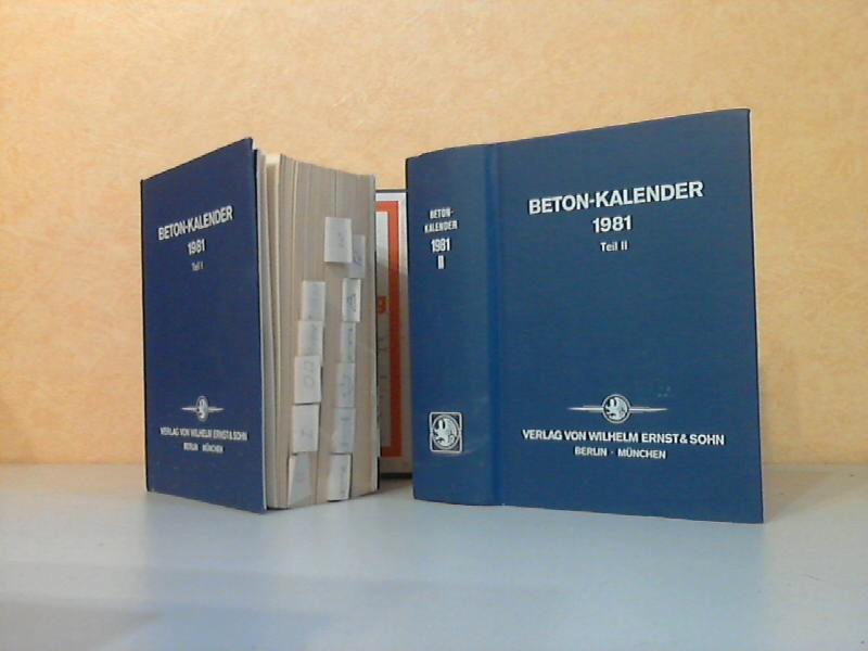 Beton-Kalender 1981 Teil1 und Teil II - Taschenbuch für Beton-, Stahlbeton- und Spannbetonbau sowie die verwandten Fächer 2 Bücher 70. Jahrgang