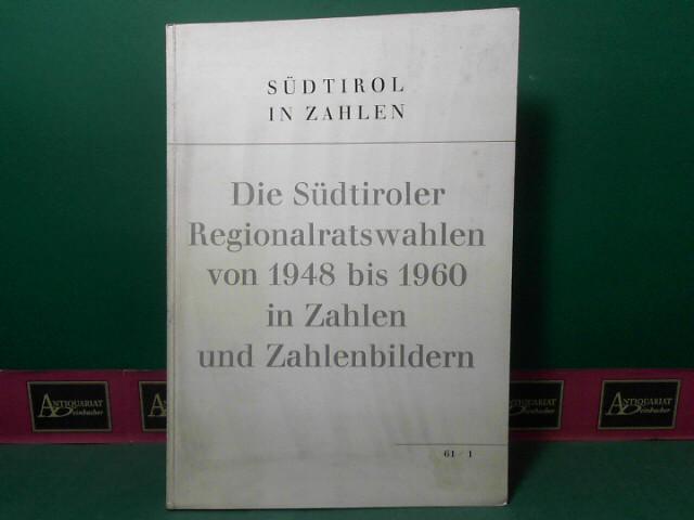 Die Südtiroler Regionalratswahlen von 1948 bis 1960 in Zahlen und Zahlenbildern (= Sürtirol in Zahlen, 61/1). 1.Auflage,