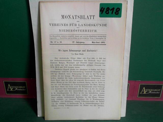 Monatsblatt des Vereines für Landeskunde  von Niederösterreich. IV. Jahrgang, Nr. 17/18 1.Auflage,