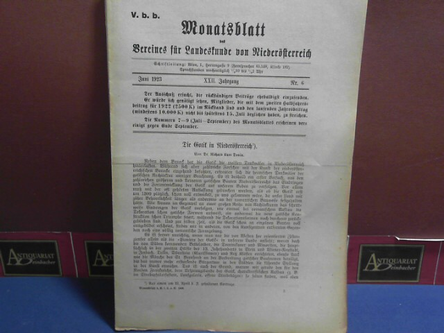 XXII. Jahrgang 1923 Nr. 6, - Monatsblatt des Vereines für Landeskunde von Niederösterreich. 1.Auflage,