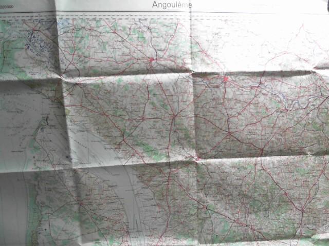 Frankreich, Blatt 50: Angouleme. Sonderausgabe V. 1940. Nur für dn Dienstgebrauch! Maßstab 1:200.000.