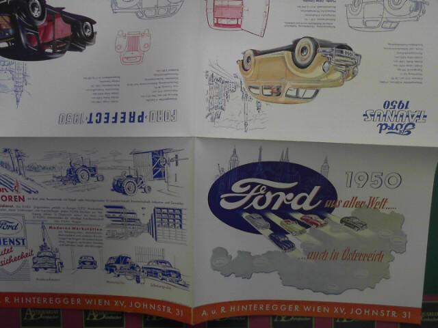 Ford aus aller Welt.... auch in Österreich 1950 - Taunus, Prefect, Vedette, Ford 50, Mercury, Lincoln Cosmopolitan, Fordson Traktoren. (= Verkaufsprospekt). 1.Auflage,