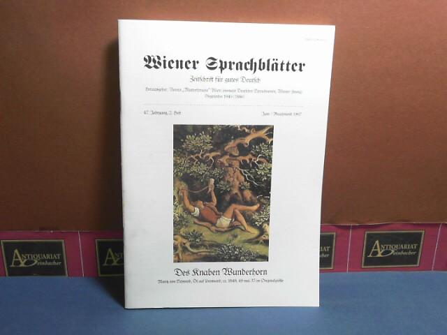 Wiener Sprachblätter. Zeitschrift für gutes Deutsch. 47. Jahrgang, 2. Heft, Juni/Brachmond 1997. 1.Auflage,