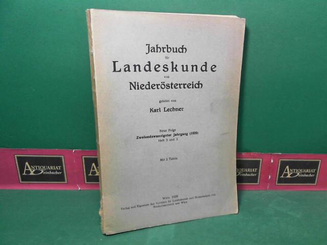 Jahrbuch für Landeskunde von Niederösterreich, Neue Folge, Band 22, Heft 2/3. 1. Aufl.